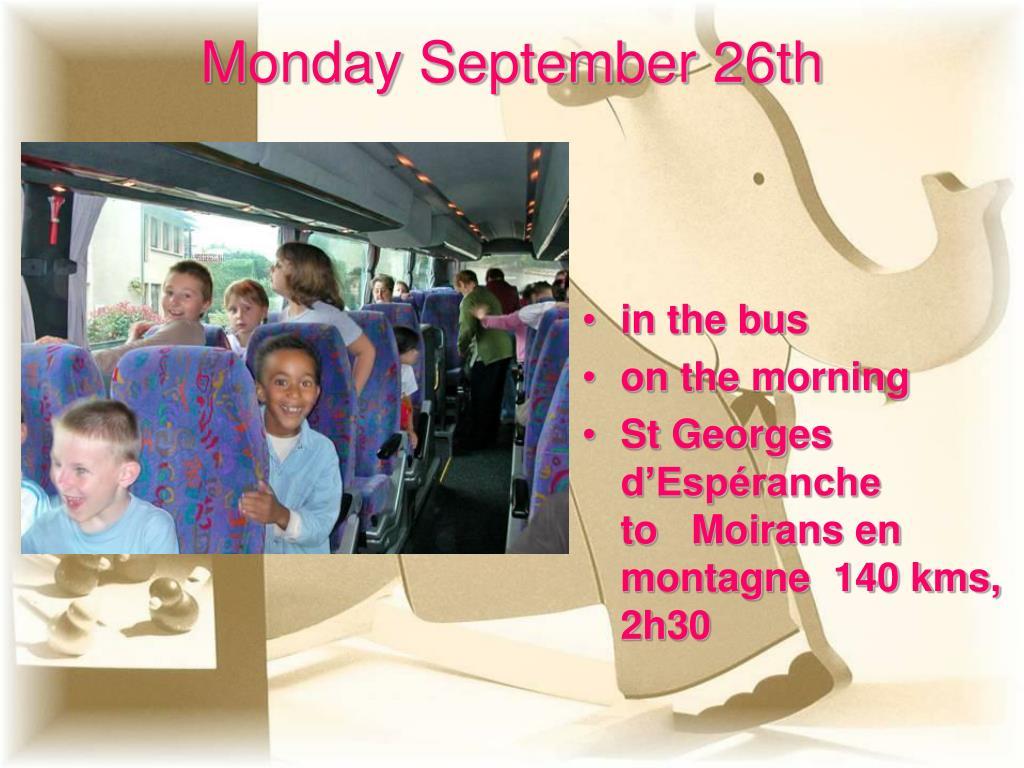 Monday September 26th
