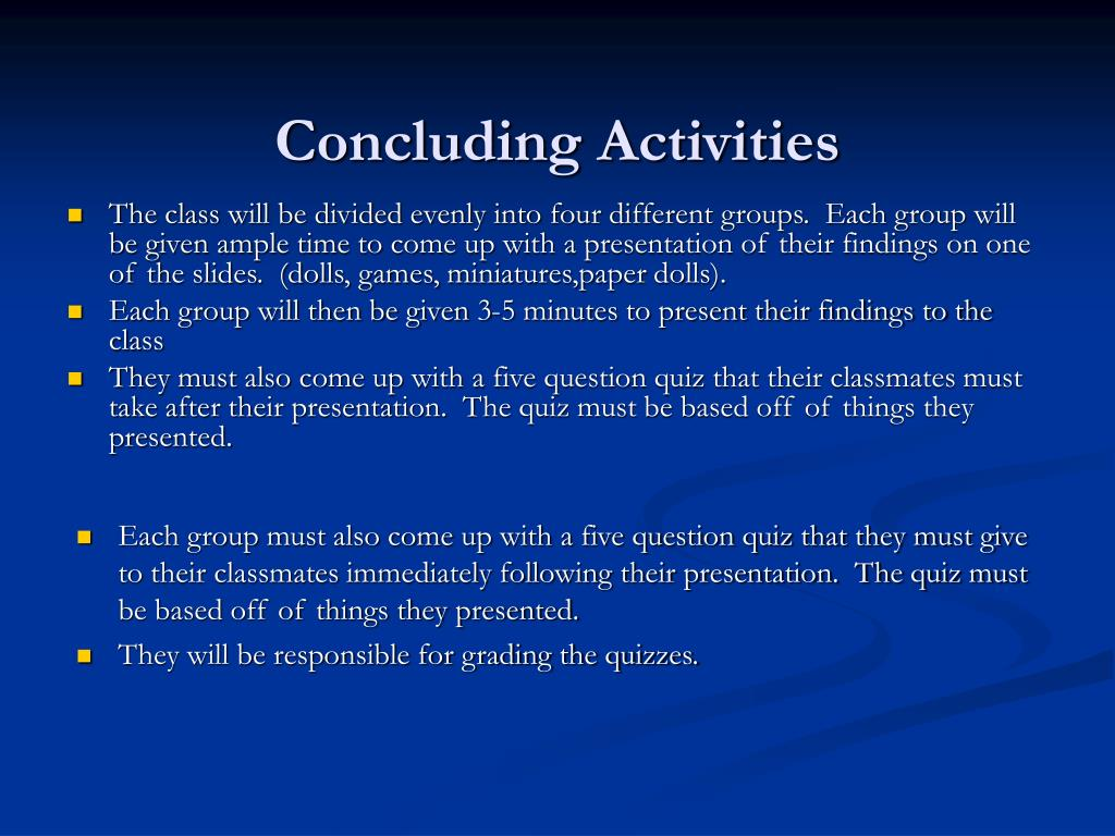 Concluding Activities