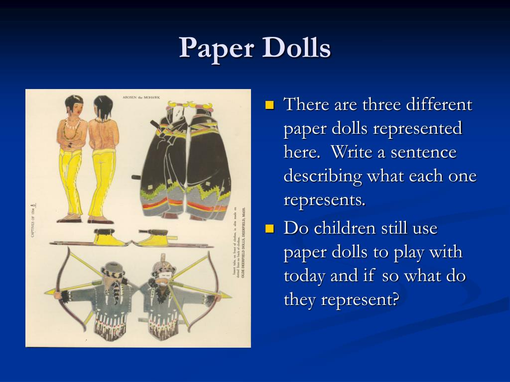 There are three different paper dolls represented here.  Write a sentence describing what each one represents.