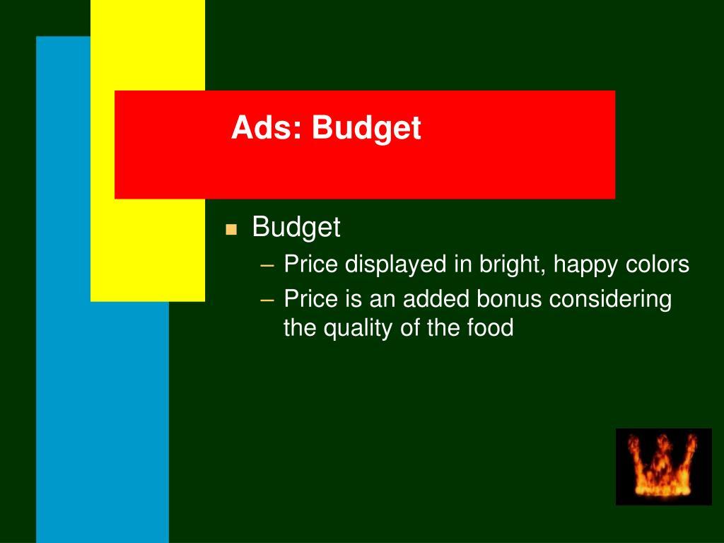Ads: Budget
