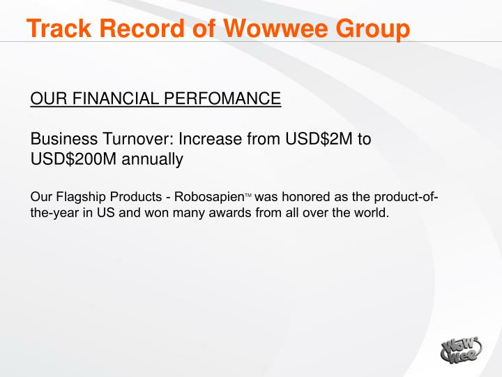 Track Record of Wowwee Group