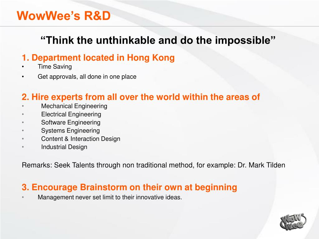 WowWee's R&D