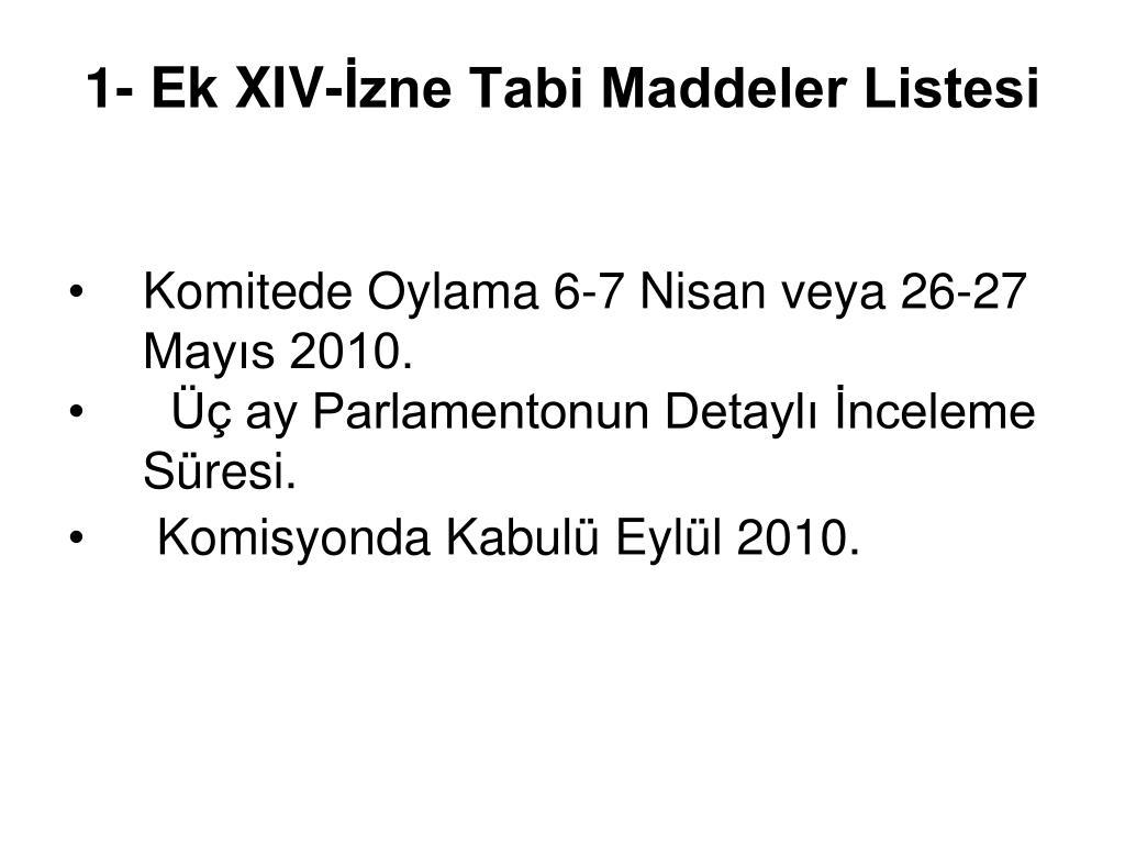 1- Ek XIV-İzne Tabi Maddeler Listesi