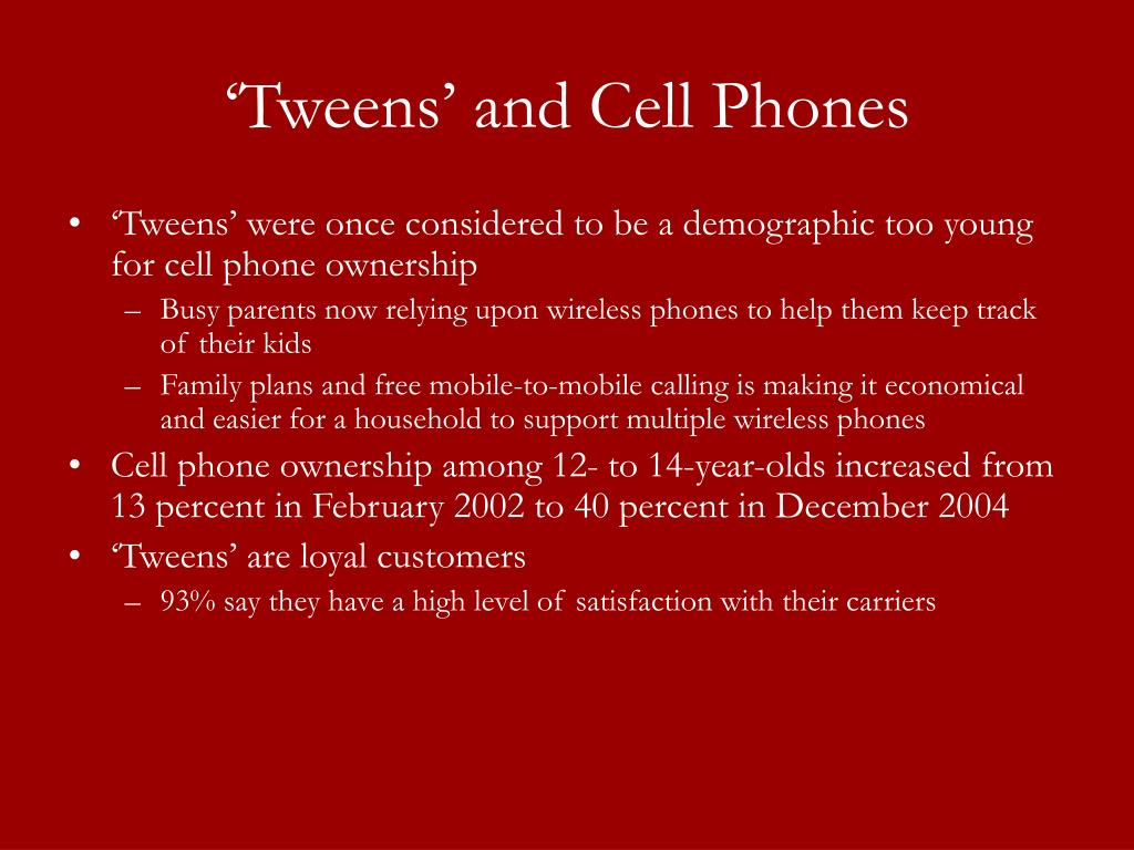 'Tweens' and Cell Phones