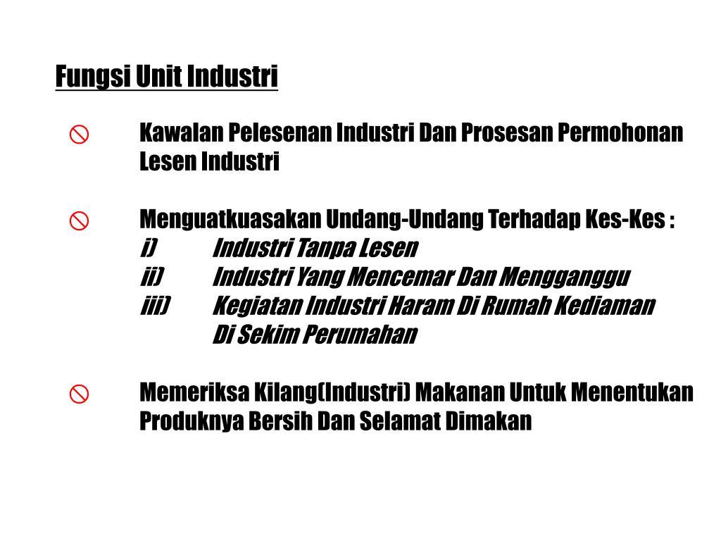 Fungsi Unit Industri