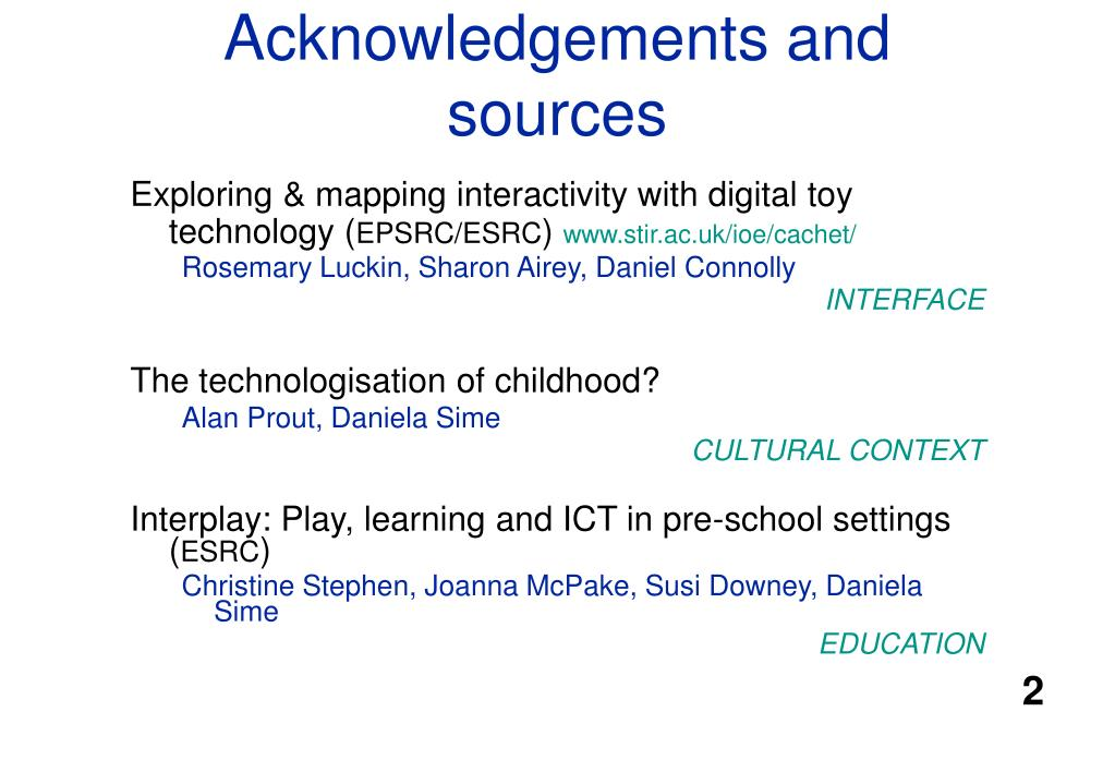 Acknowledgements and sources
