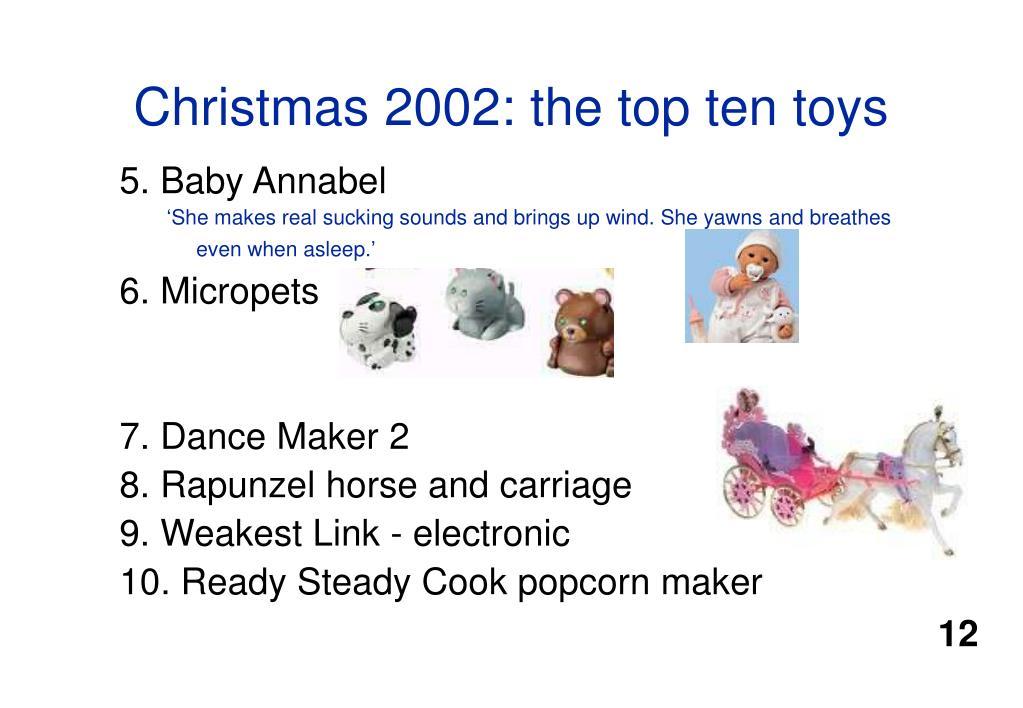 Christmas 2002: the top ten toys