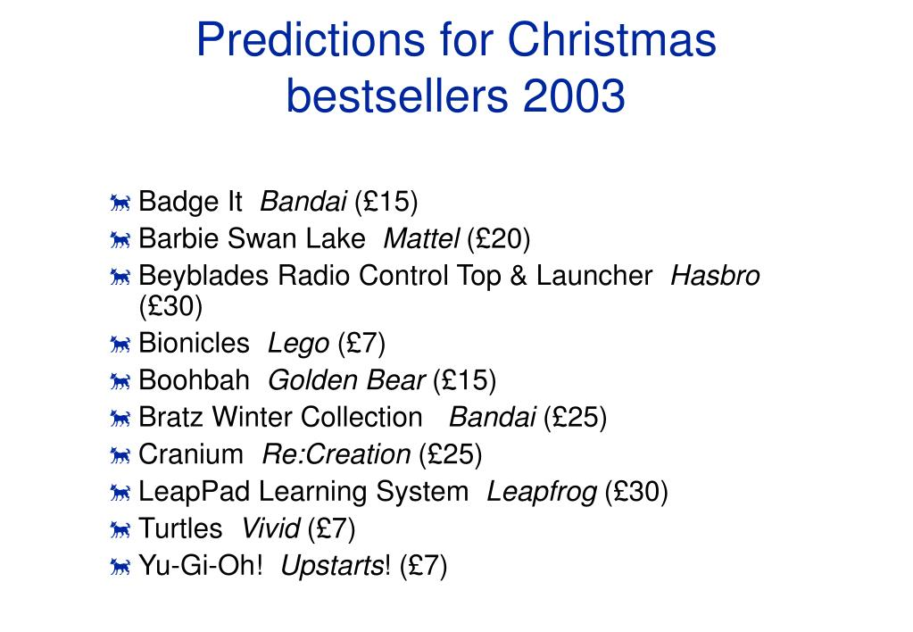 Predictions for Christmas bestsellers 2003