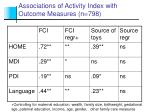 associations of activity index with outcome measures n 798