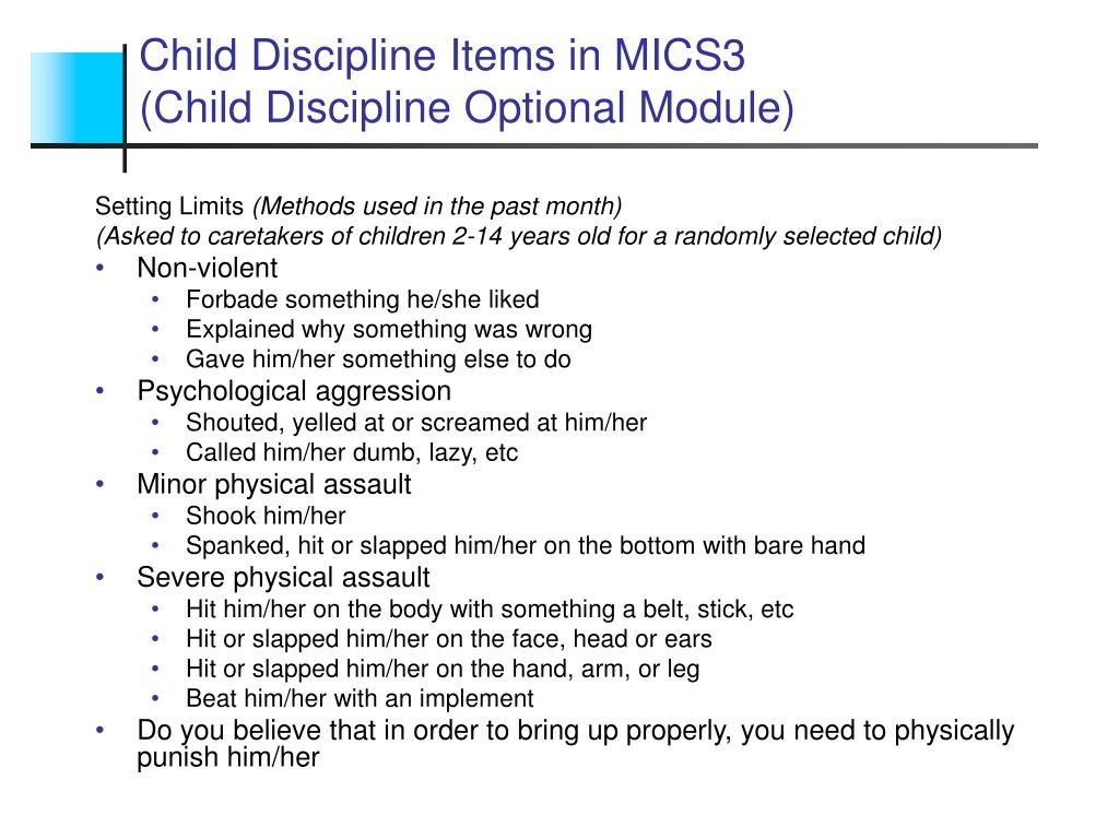 Child Discipline Items in MICS3