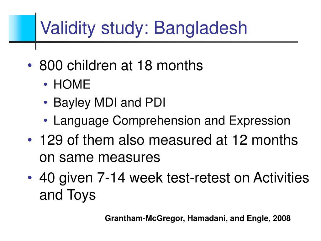Validity study: Bangladesh