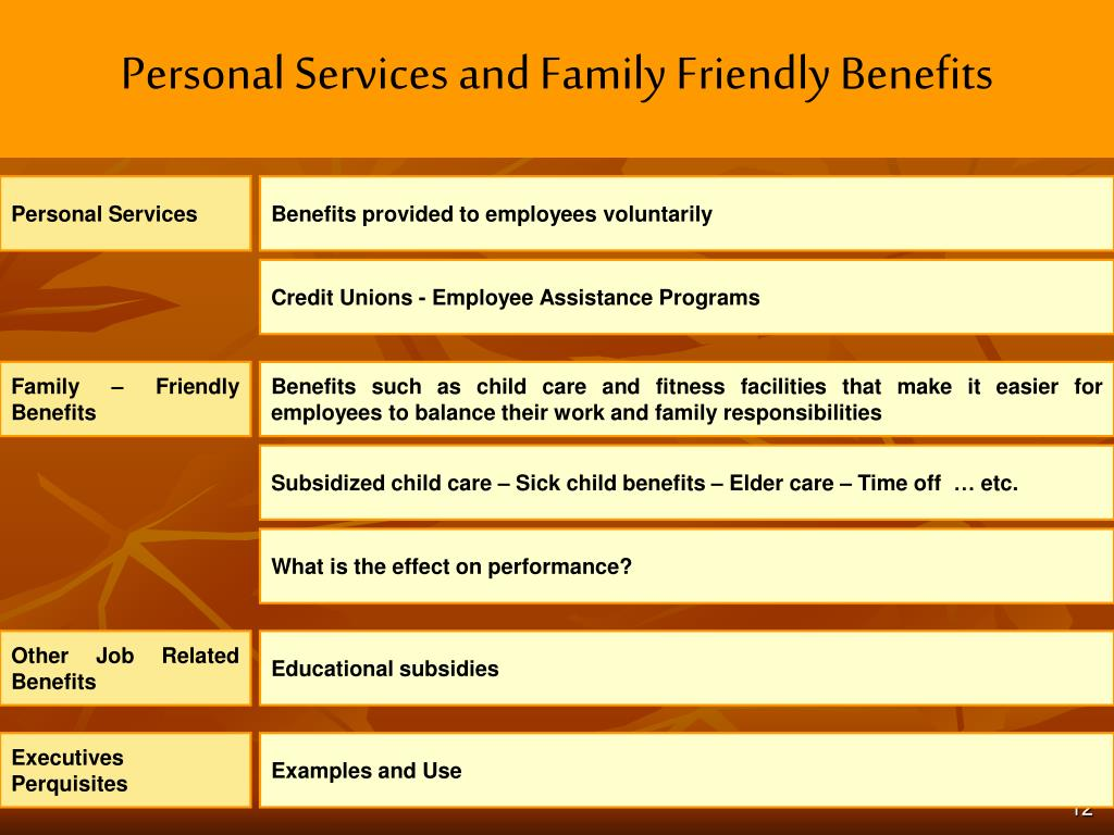 Personal Services and Family Friendly Benefits