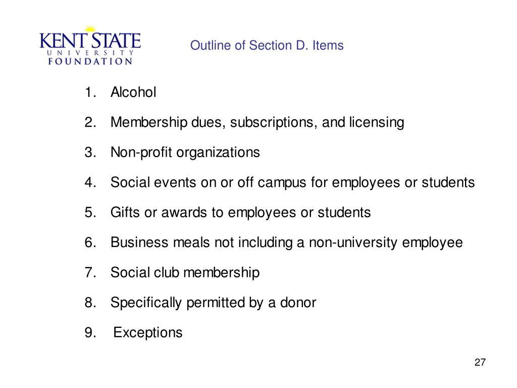 Outline of Section D. Items