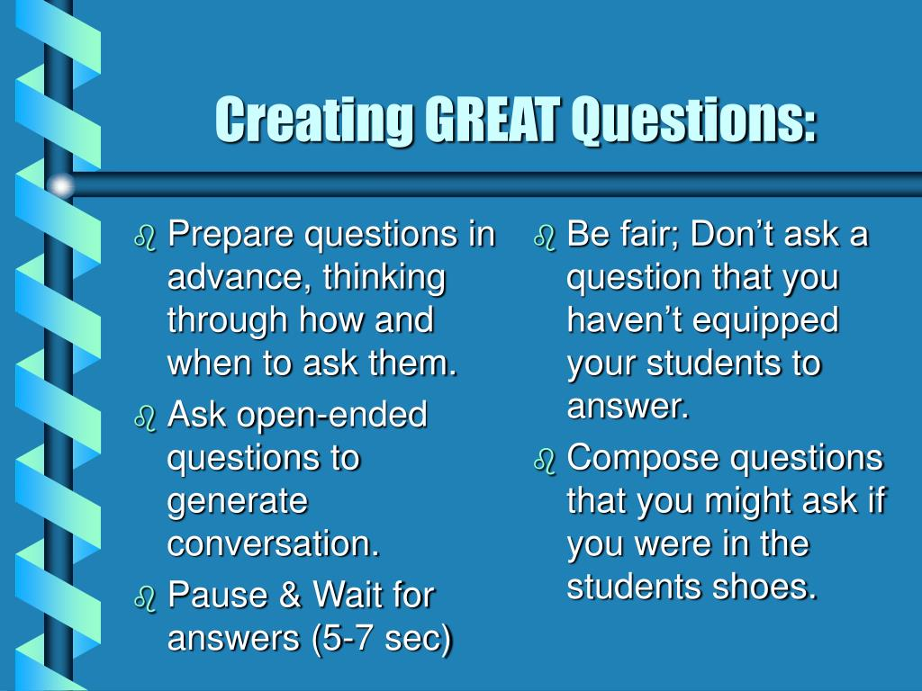 Prepare questions in advance, thinking through how and when to ask them.