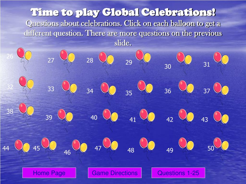 Time to play Global Celebrations!