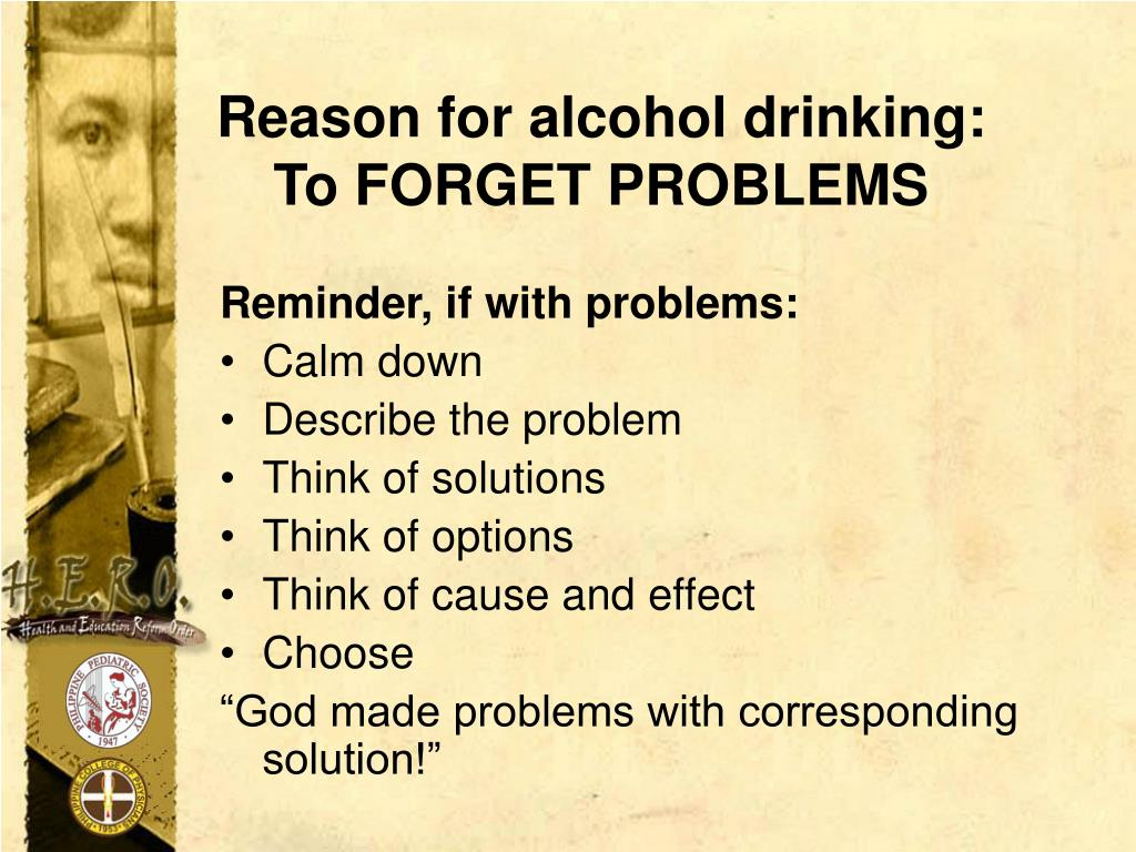 Reason for alcohol drinking: