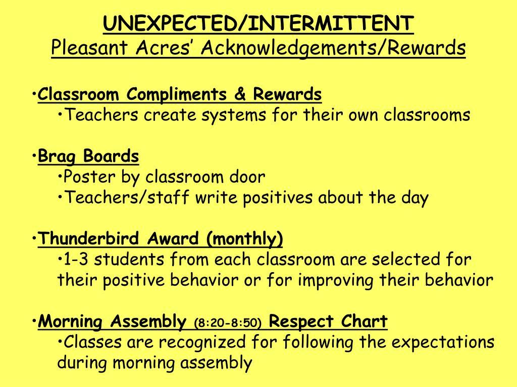 UNEXPECTED/INTERMITTENT