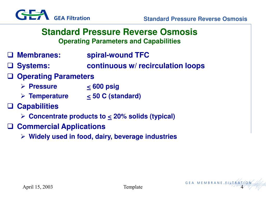 Standard Pressure Reverse Osmosis