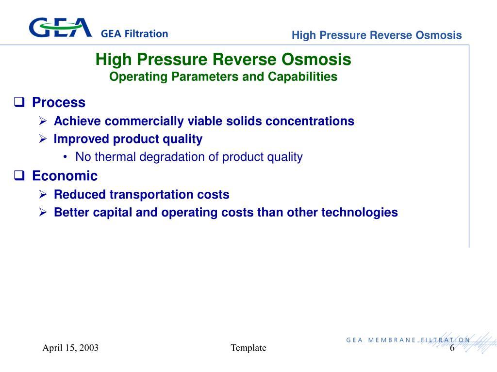 High Pressure Reverse Osmosis