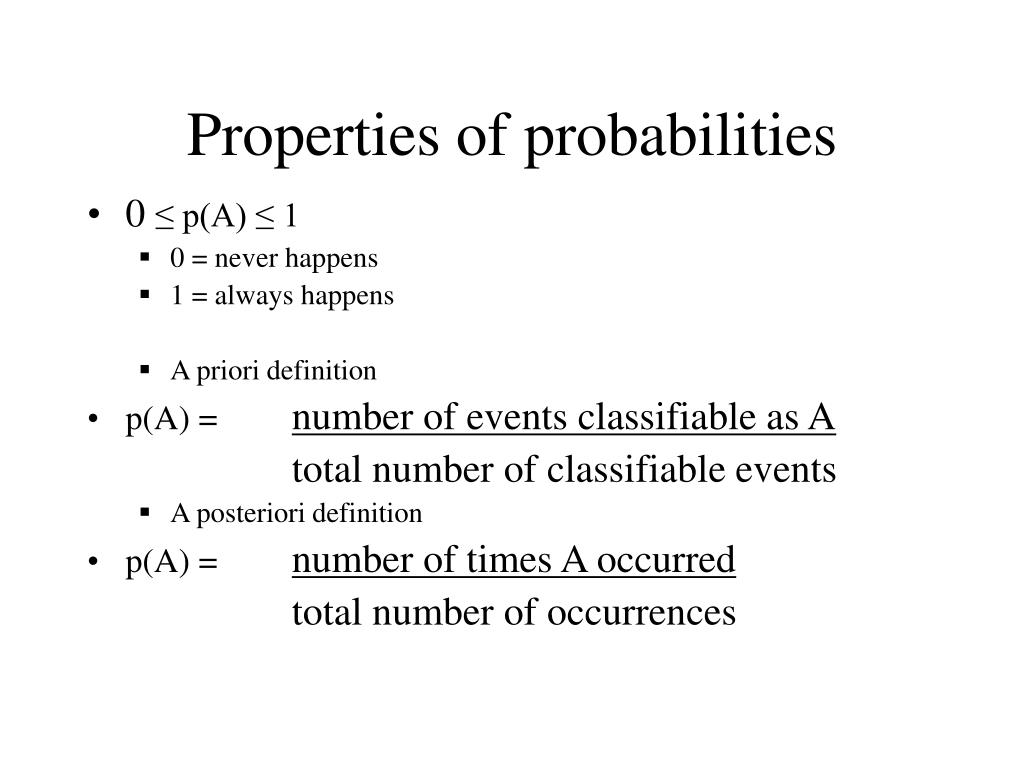 Properties of probabilities
