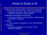 areas of study in ai
