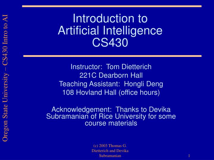 Introduction to artificial intelligence cs430 l.jpg