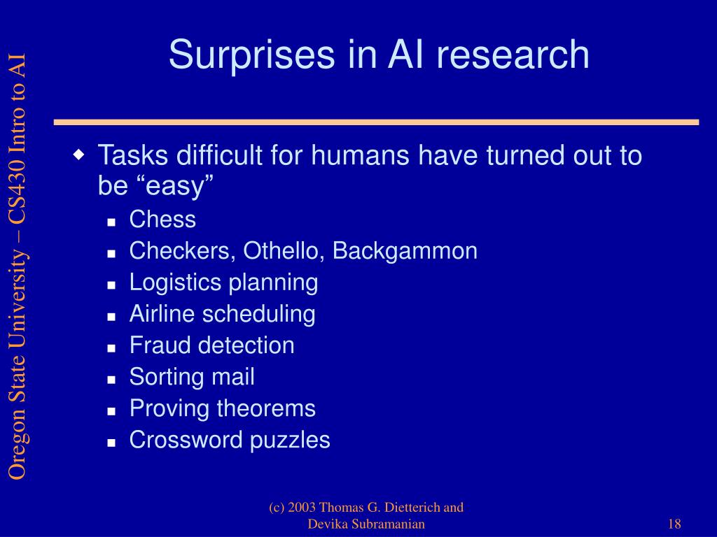 Surprises in AI research