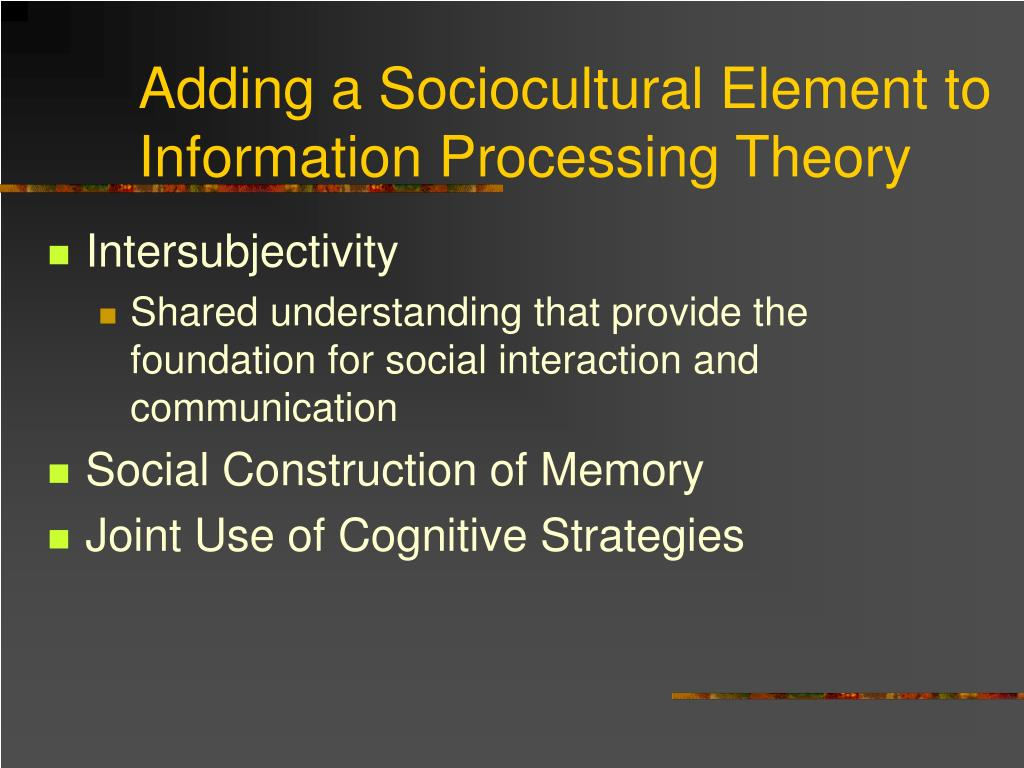 Adding a Sociocultural Element to Information Processing Theory