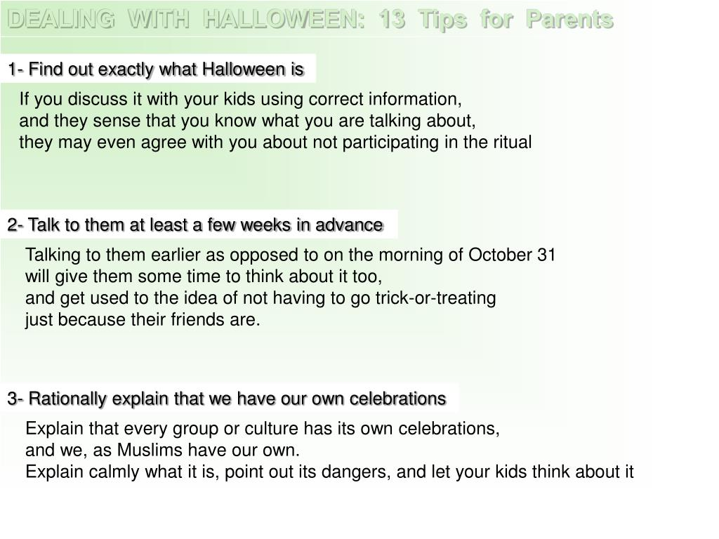 DEALING  WITH  HALLOWEEN:  13  Tips  for  Parents