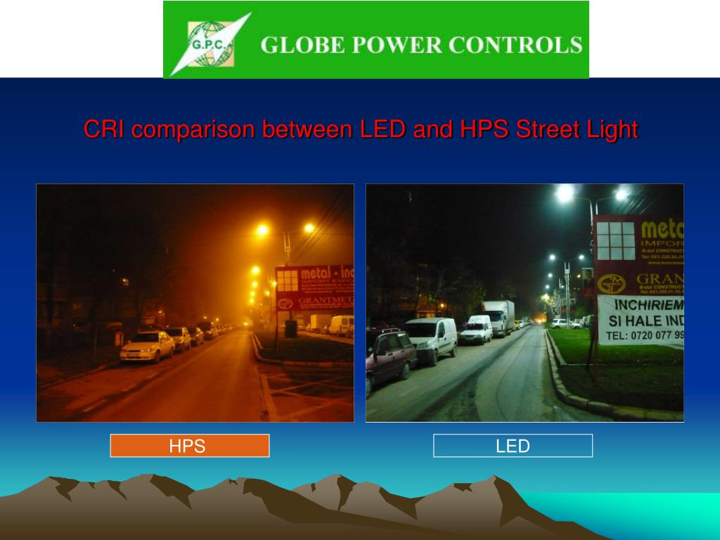 CRI comparison between LED and HPS Street Light
