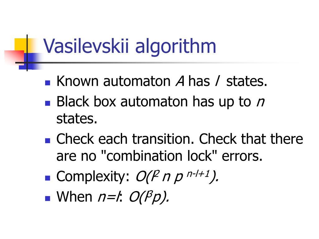 Vasilevskii algorithm