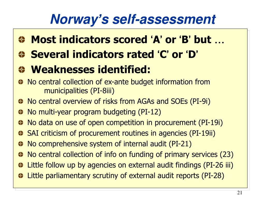 Norway's self-assessment