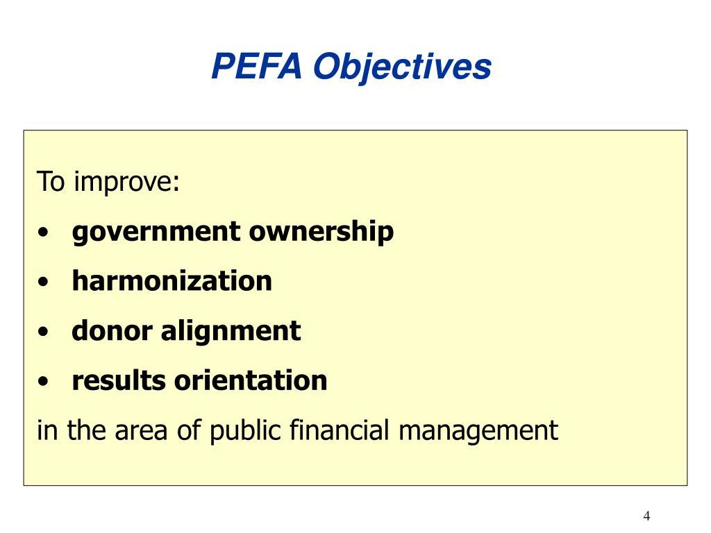 PEFA Objectives