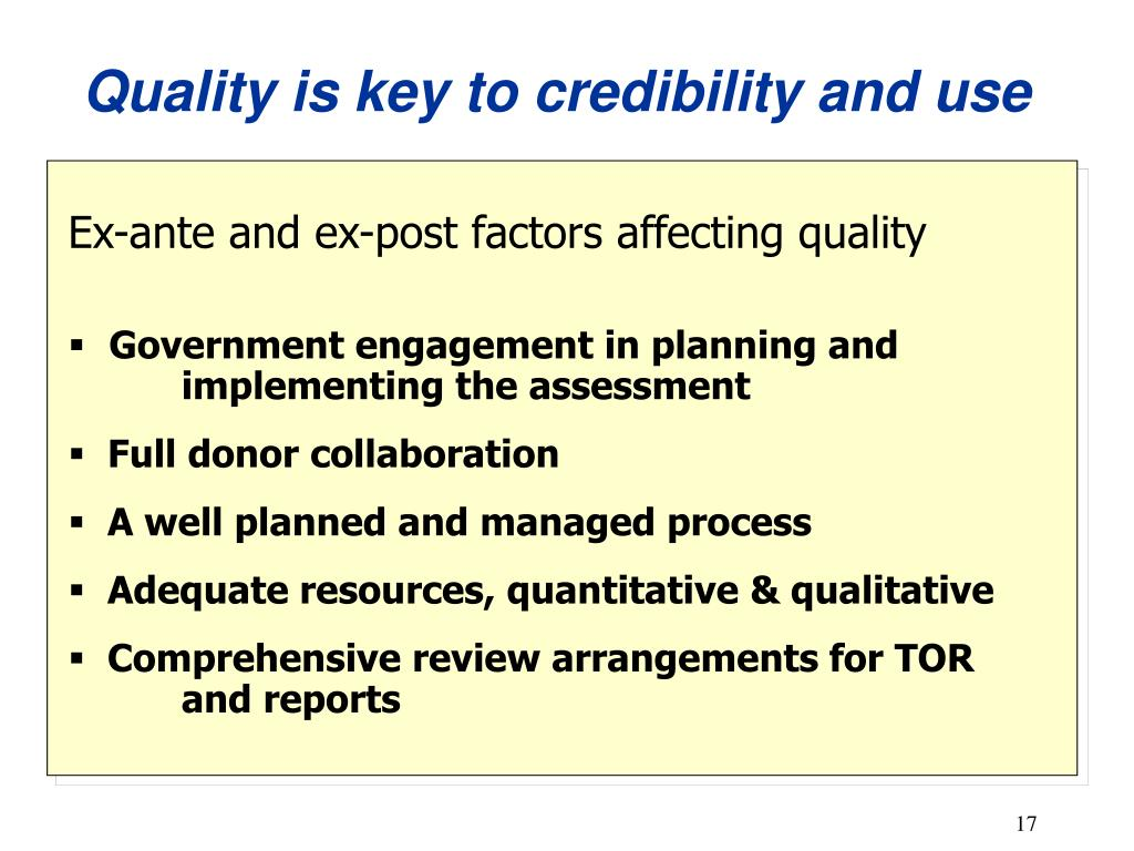 Quality is key to credibility and use