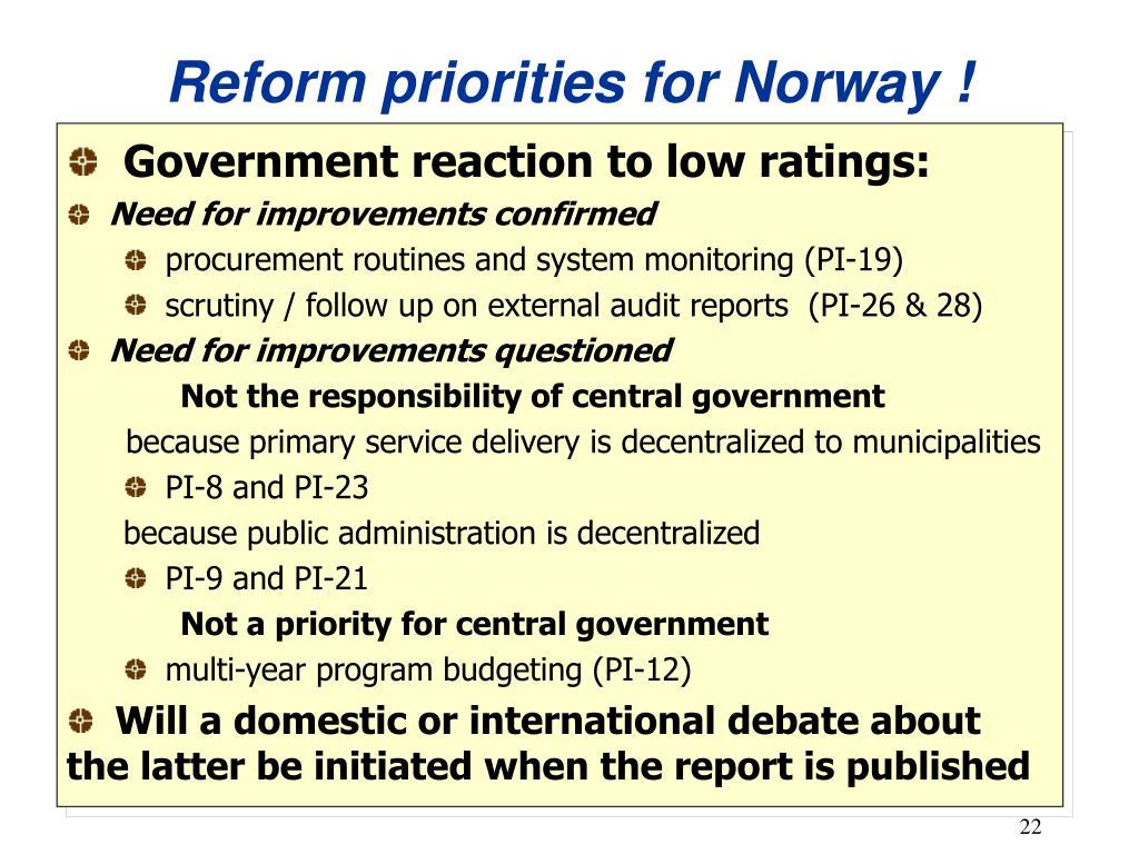 Reform priorities for Norway !