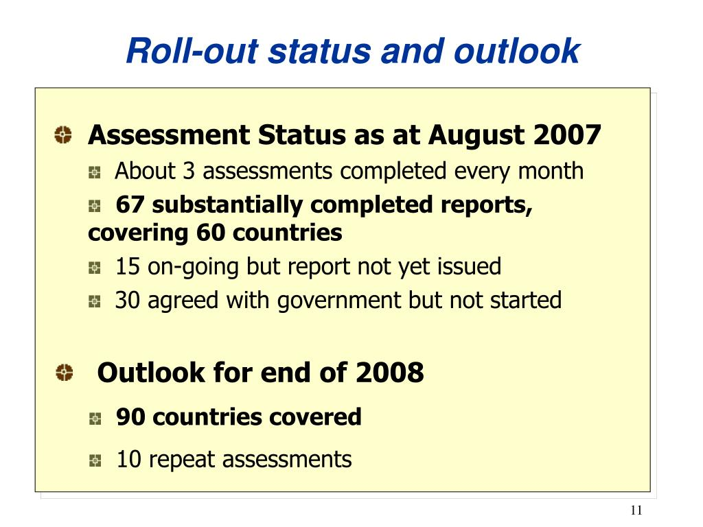 Roll-out status and outlook