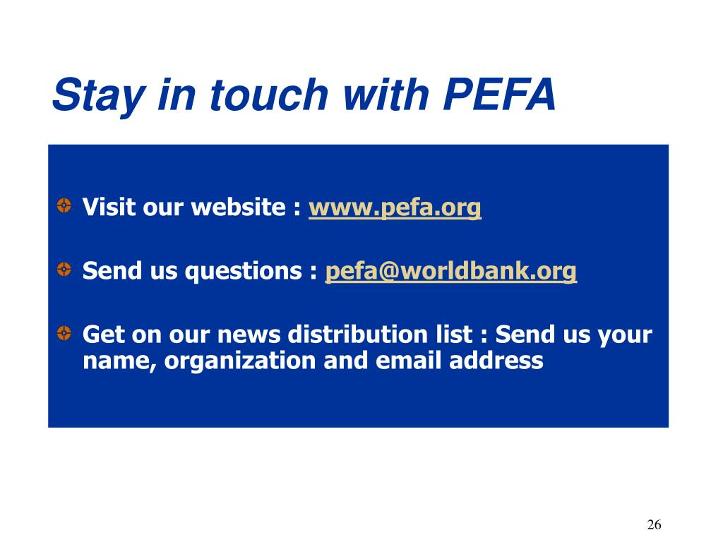 Stay in touch with PEFA