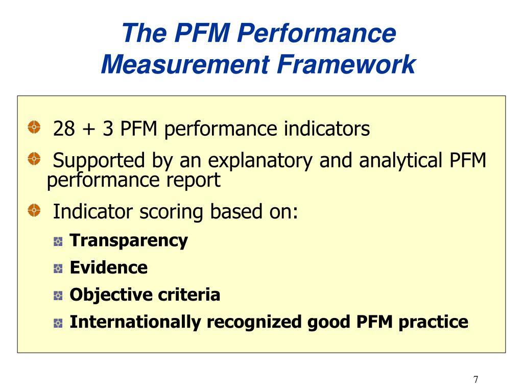 The PFM Performance