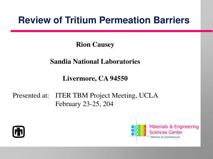 Review of tritium permeation barriers l.jpg