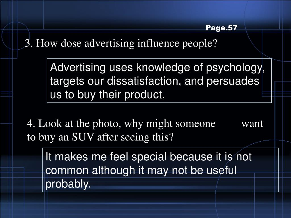 3. How dose advertising influence people?
