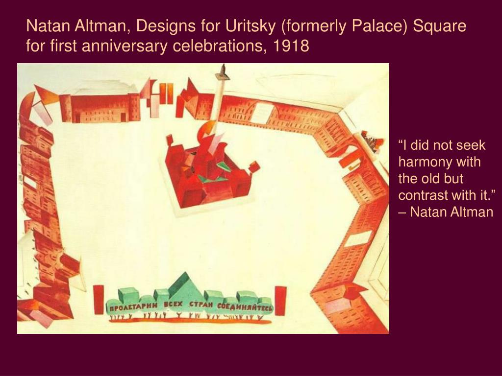 Natan Altman, Designs for Uritsky (formerly Palace) Square for first anniversary celebrations, 1918