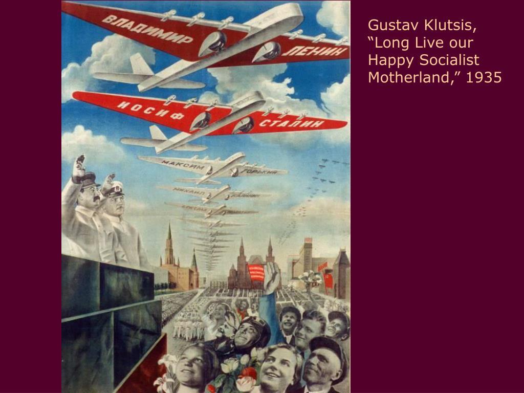 """Gustav Klutsis, """"Long Live our Happy Socialist Motherland,"""" 1935"""