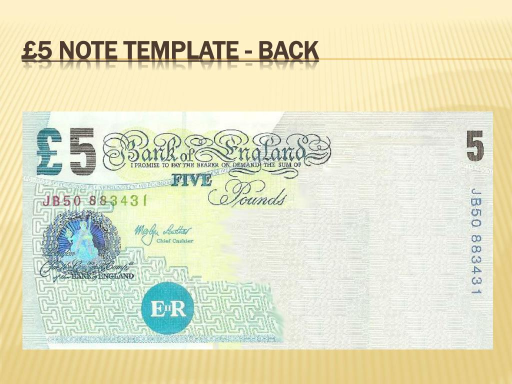 £5 note template - back