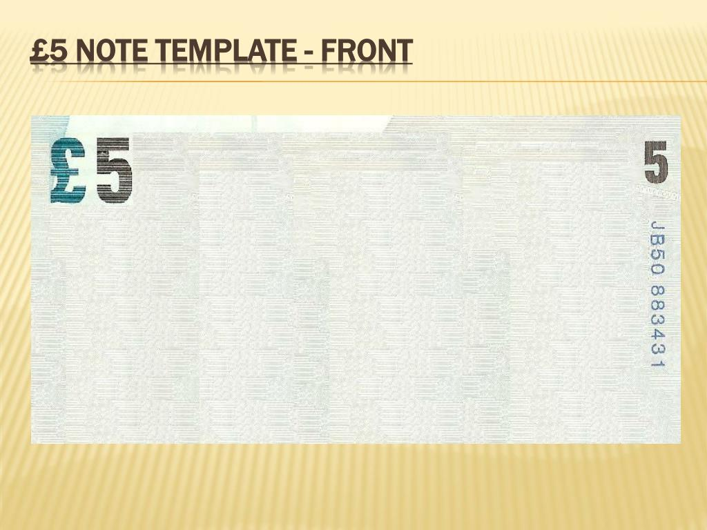 £5 note template - Front