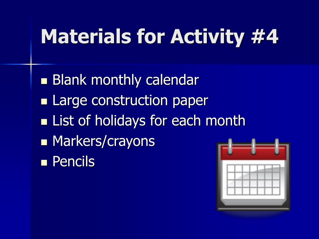 Materials for Activity #4