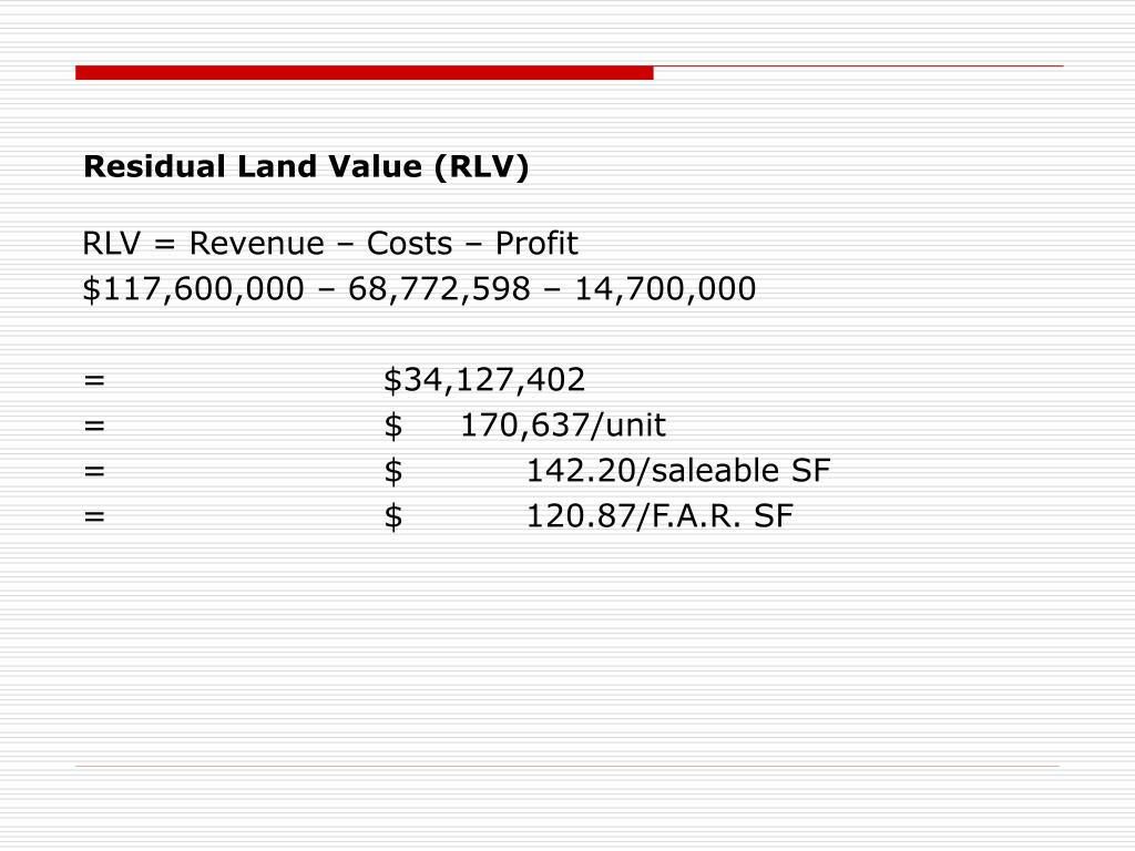 Residual Land Value (RLV)