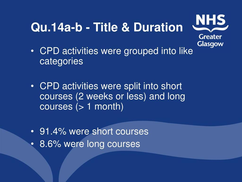 Qu.14a-b - Title & Duration