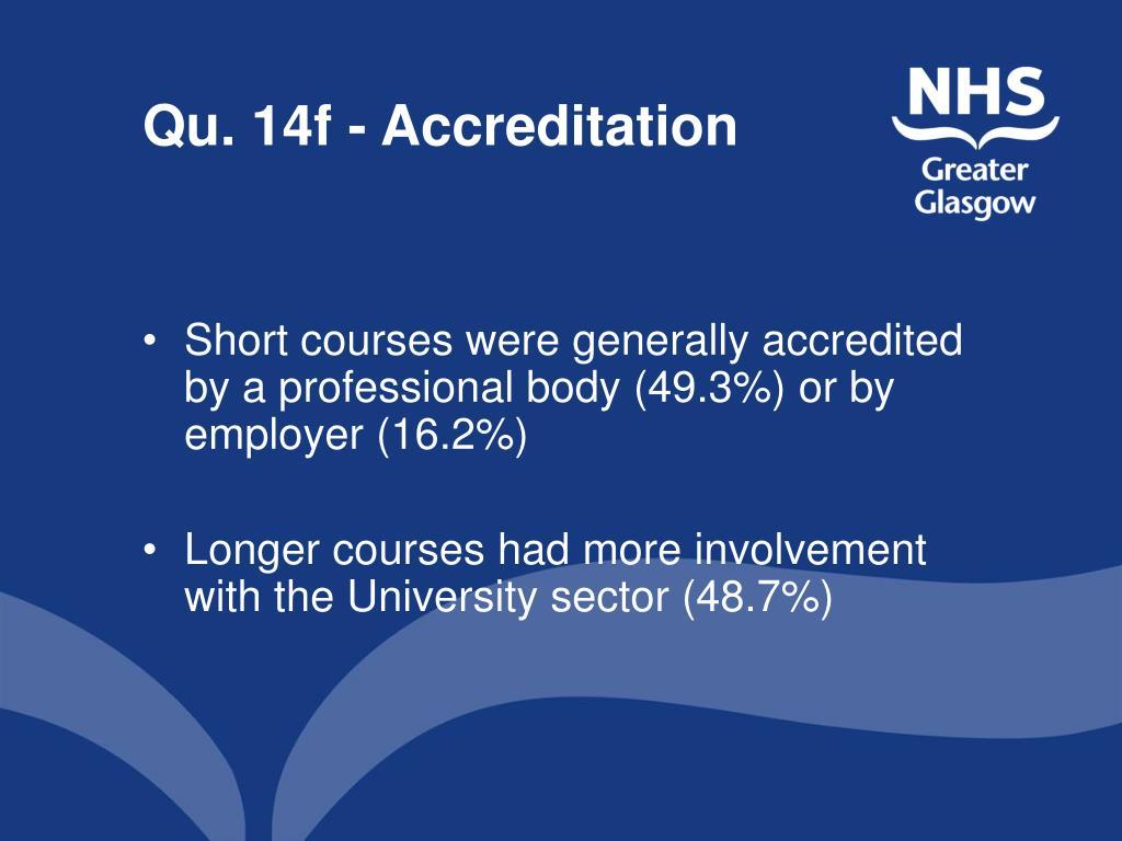 Qu. 14f - Accreditation