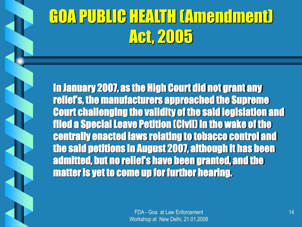 GOA PUBLIC HEALTH (Amendment) Act, 2005