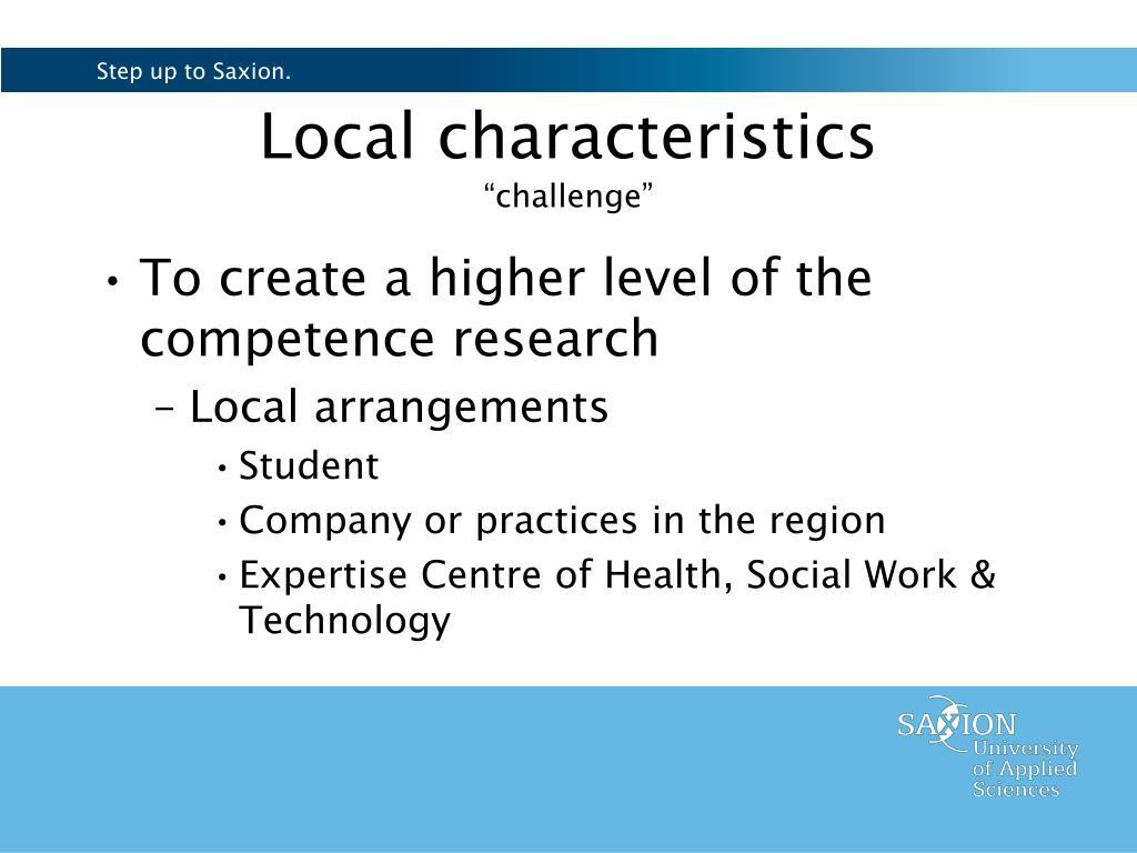 Local characteristics